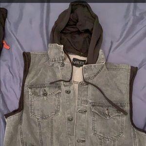 Black Hooded Jean Vest